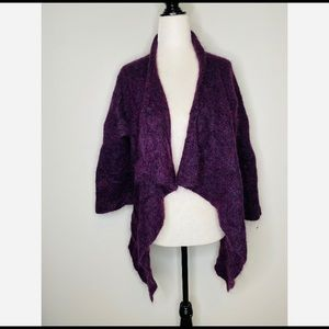 Eileen Fisher Purple Superkid Mohair Open Cardigan